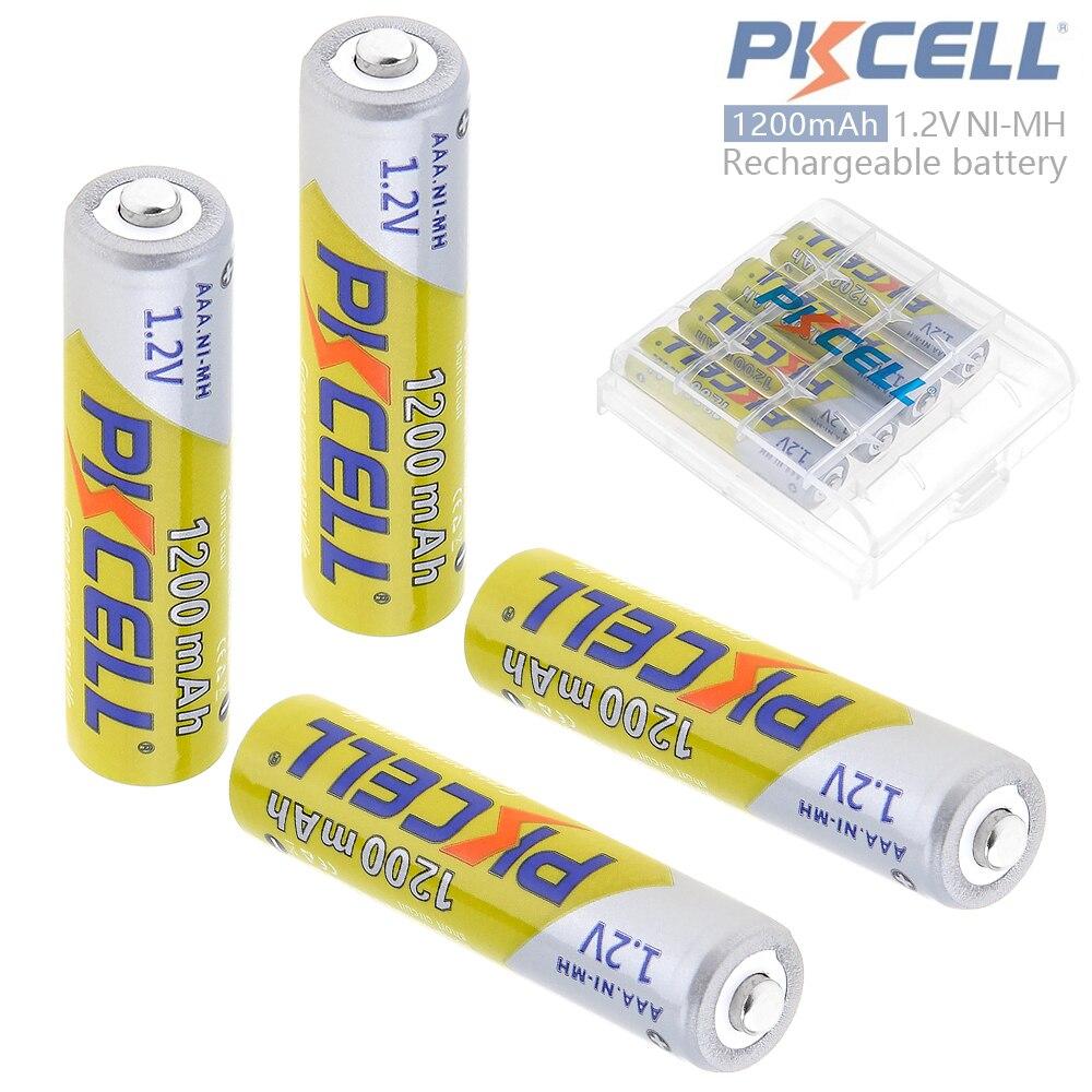 Pkcell 4 pcs 1.2 V AAA 1200 mAh Ni-Mh Rechargeable Batteries 3A Bateria Baterias + Batterie Box Case pour Caméra/jouet/Télécommande