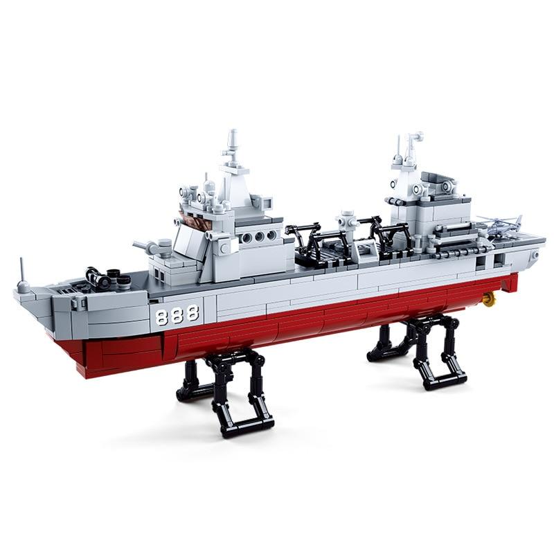 497pcs Children s building blocks toy Compatible city military Supply ship figures Bricks boy best birthday