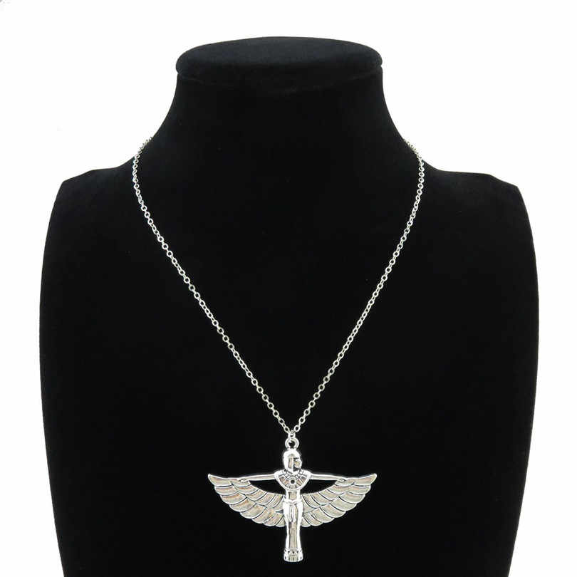 """Vendita CALDA Dea Egizia Isis Antico Egitto Dio Alato 18 """"Collare Corto Della Collana Del Choker & Pendenti con gemme e perle"""