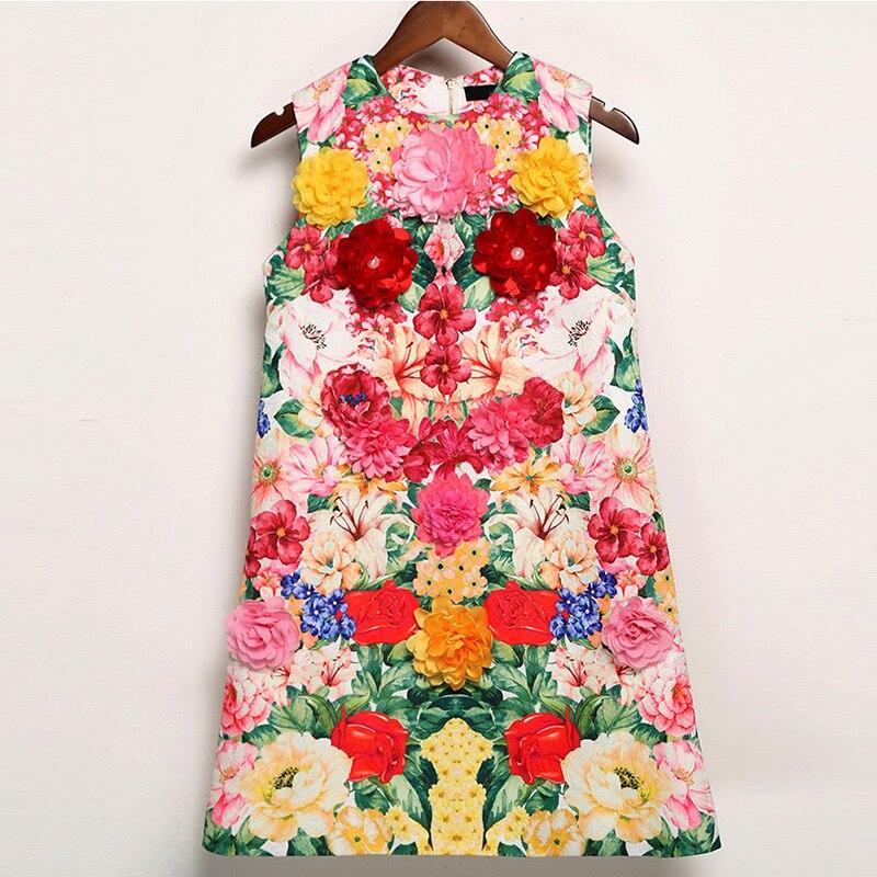 Femmes Picture Parti Vintage Piste Robes Manches Qualité Mode Robe Floral Imprimé Sans D'été Festa De Appliques As 2017 Haute xpS0w6Uqp