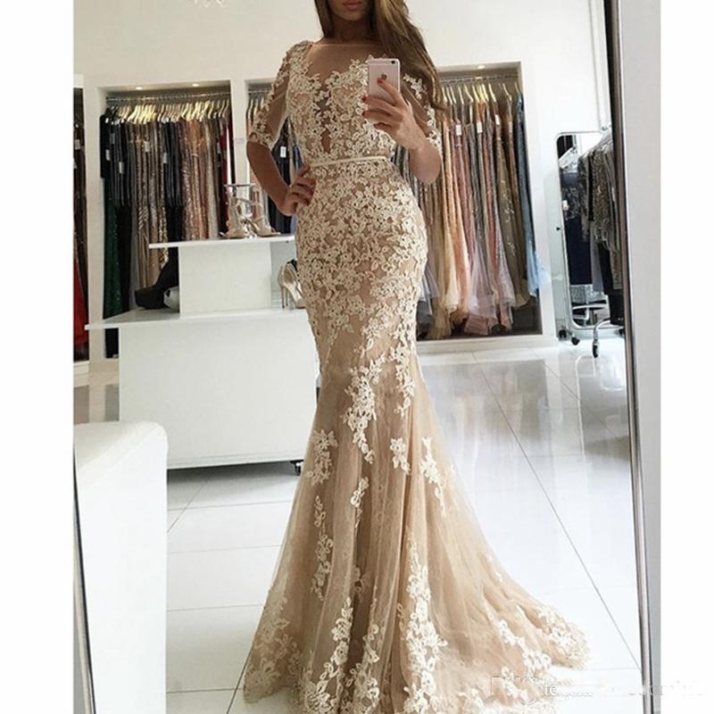 Angel married simple   evening     dresses   half sleeves mermaid prom   dress   champagne women's formal party   dress   vestido de fest 2019