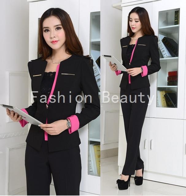 Más el tamaño elegante negro otoño Work Wear para oficina moda delgado invierno 2015 del otoño juegos de bragas uniformes de estética traje pantalón