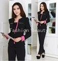 Plus Size Elegant Black Fall Work Wear For Office Ladies Fashion Slim 2015 Autumn Winter Pant Suits Beautician Uniforms Pantsuit