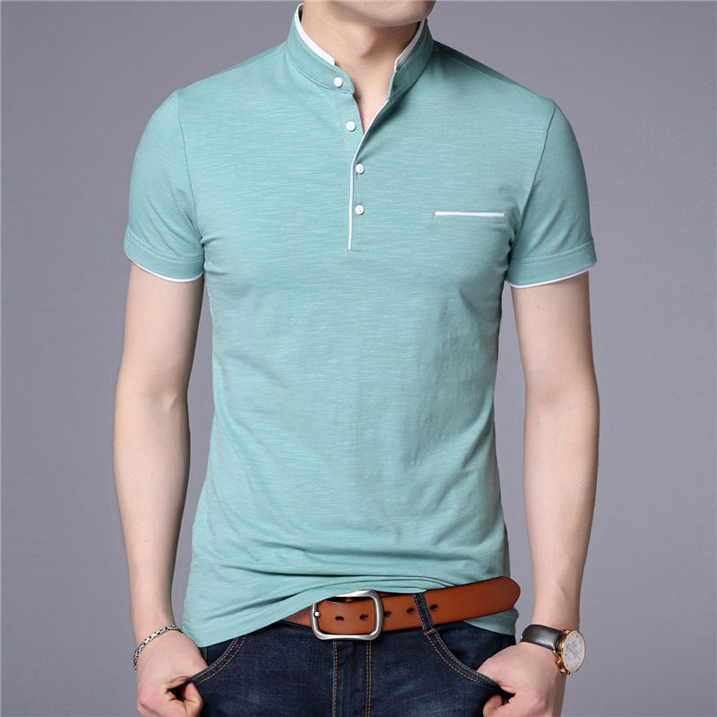 HTB1xpd GkSWBuNjSszdq6zeSpXaZ - COODRONY Mandarin Collar Short Sleeve Tee Shirt Men Spring Summer New Top Men Brand Clothing Slim Fit Cotton T-Shirts S7645