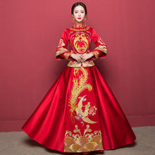 Traditional Chinese Clothes For Women Dragon Phoenix Clothing Oriental Wedding Gowns Plus Size Evening Dress Embroidery Qipao