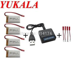 YUKALA 4 in 1 T64 T04 T05 F28 F29 RC Helicopter 3.7v 1200mah Li-polymer battery*4pcs+ charger case
