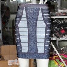 Celebrity High Quality Imitation Cowboy Printed Above Knee Length Rayon Bandage Skirt Sexy Fashion Bodycon Skirt