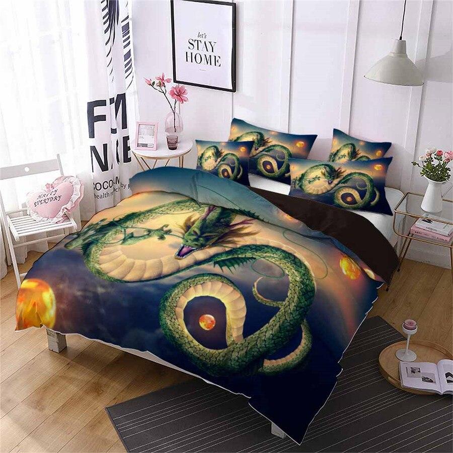 HELENGILI 3D ensemble de literie Dragon Ball imprimé housse de couette ensemble de literie avec taie d'oreiller ensemble de lit Textiles de maison # LZ-26 - 3