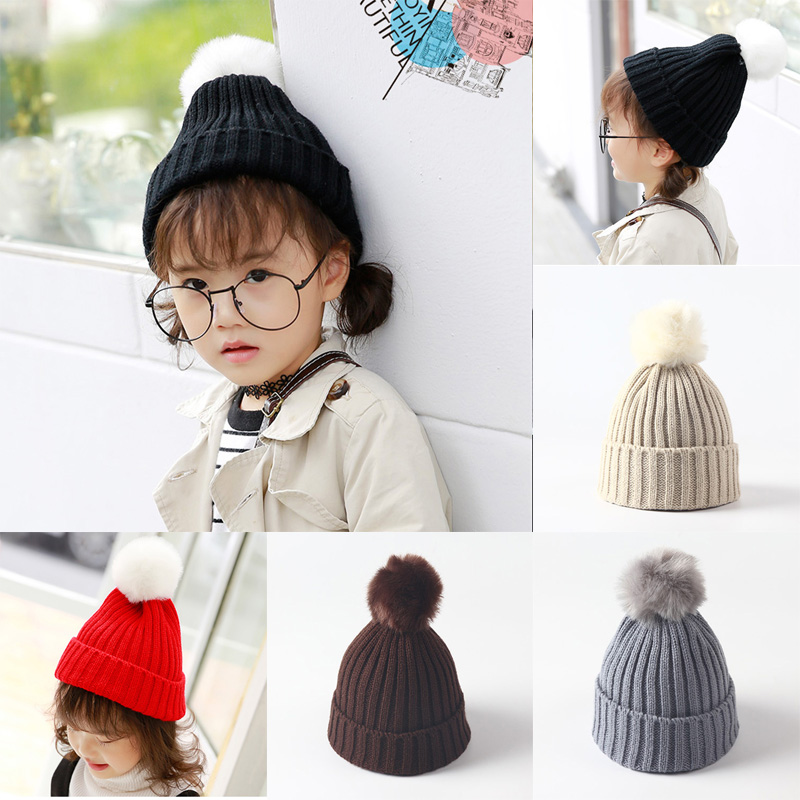 Infant Toddler Kid Baby Winter Warm Hat Knit Poms Cap Unisex Skullies & Beanies Baby Children Girls Knitted Hat