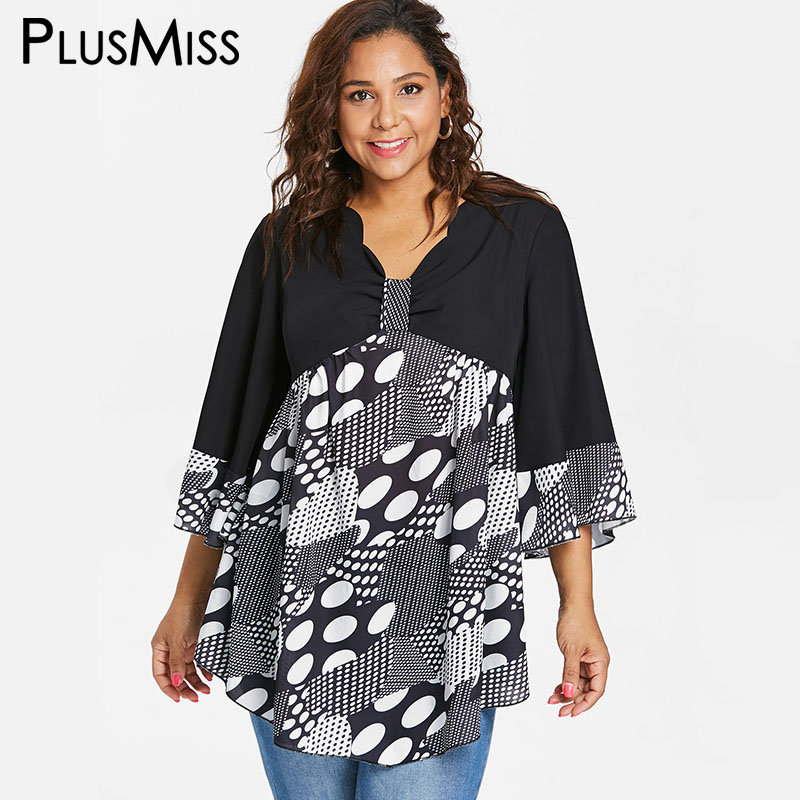 29fe613fc44 PlusMiss Plus Size Loose Bell Flare Sleeve Beach Boho Blouse 5XL Women  Polka Dot Print Tops