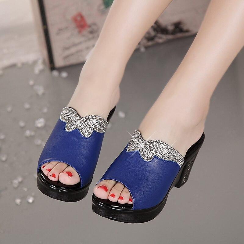 GKTINOO new sandals women genuine leather sandals thick heel slippers woman platform wedges summer shoes pumps woman flip flops