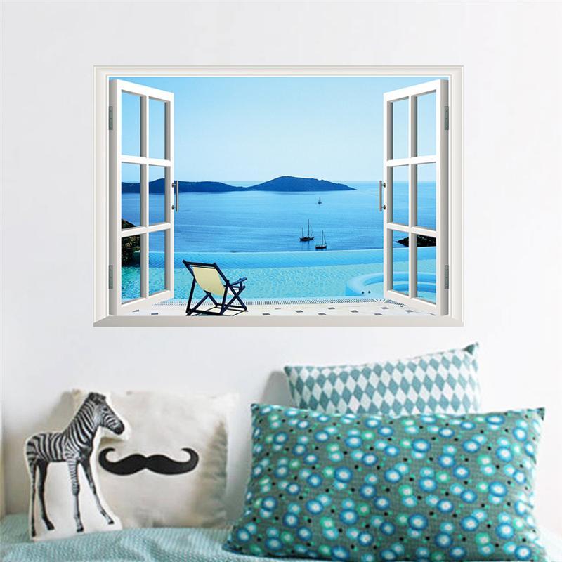 3d Windows Wall Stickers Sea Beach Hill Island Decals Landscape Scenery Mural Art Living Room