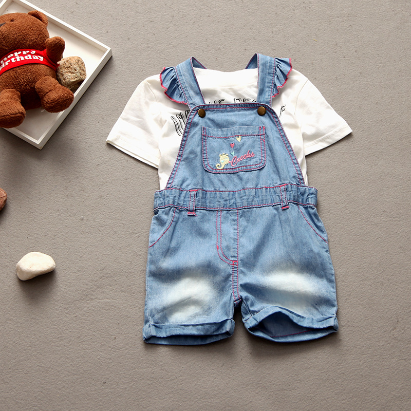 Baby summer clothes for girl baby girls pants denim thin shorts overalls kids cowboy jumpersuit 12-24M