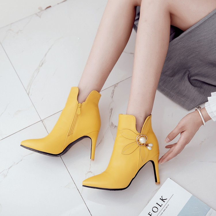 Big Size 11 12 13 14 15 16 17 Womens ankle boots with narrow heels and high Pointed  Side zipper  pearl flowersBig Size 11 12 13 14 15 16 17 Womens ankle boots with narrow heels and high Pointed  Side zipper  pearl flowers