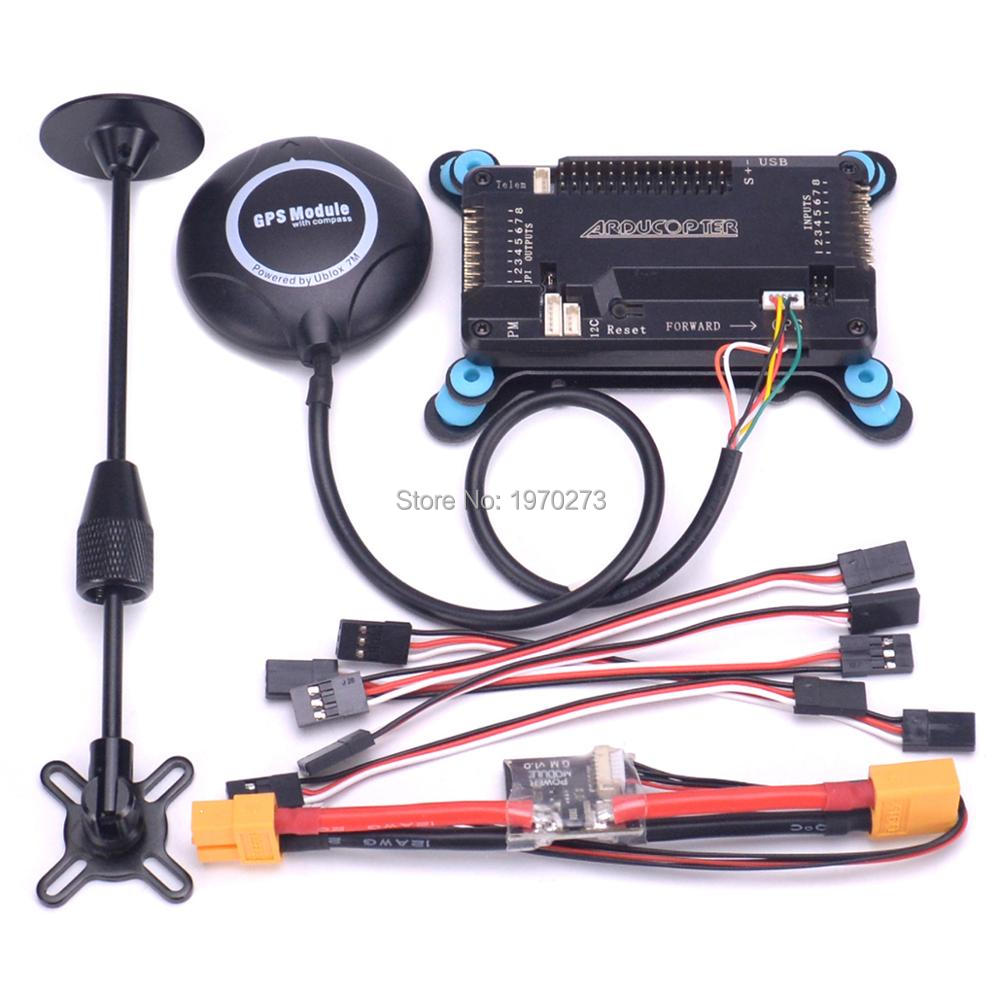 <font><b>APM</b></font> <font><b>2.8</b></font> APM2.8 Flight Controller Board w/ shock absorber Power module + 6M / 7M / M8N GPS with Compass for S500 Quadcopter image