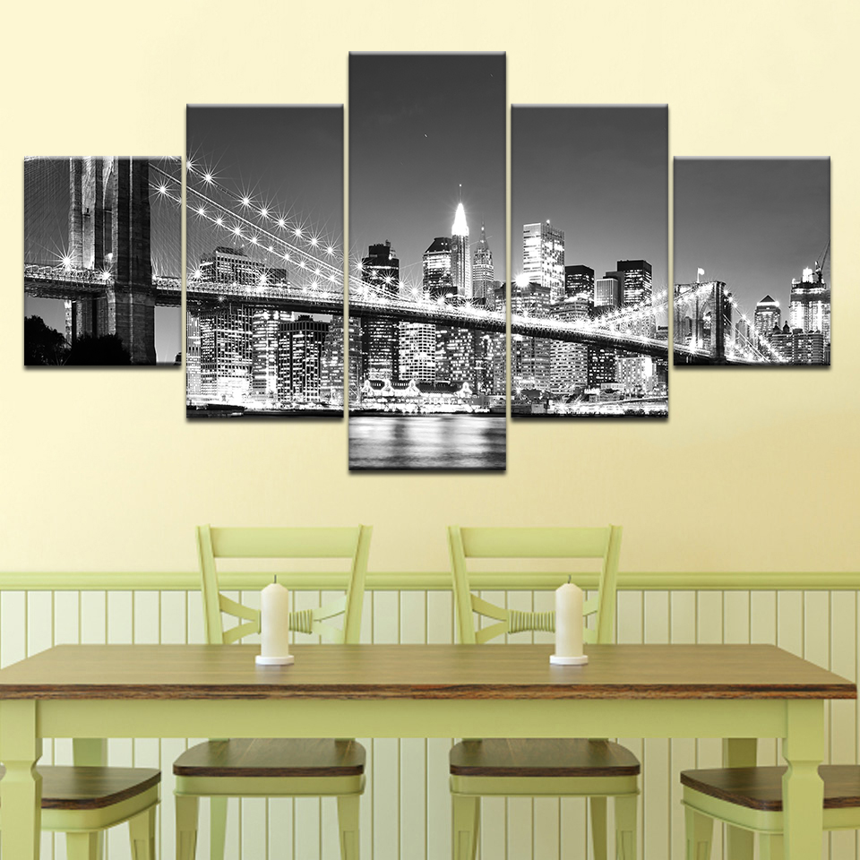 Walk Across the Brooklyn Bridge 5 piece Wallpapers modern Modular Poster art Canvas painting for Living Room Home Decor in Painting Calligraphy from Home Garden