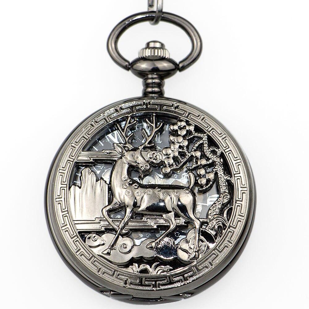 Lovely Elk Bronze Steampunk Hollow Deer Carving Mechanical Pocket Watch Men Women FOB Chain Gift PJX1337