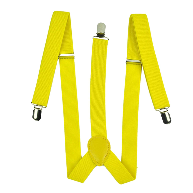 Lady Woman Adjustable Metal Clamp Elastic Suspenders Braces - Yellow