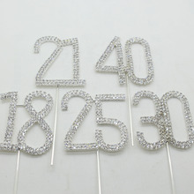 ZMASEY New 1pcs/card Cake Topper Wedding Cake decoration favor Supplies Crystal Rhinestoe Silver new design Brilliant