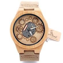 БОБО ПТИЦА B09 Подвергается Дизайн Движение Бамбукового Дерева Кварцевые Часы С Белым Настоящие Кожаные Ремни Часы Скелет