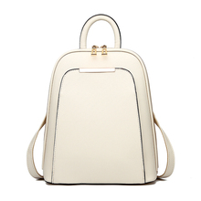 Solid High Quality PU Leather Backpack Women