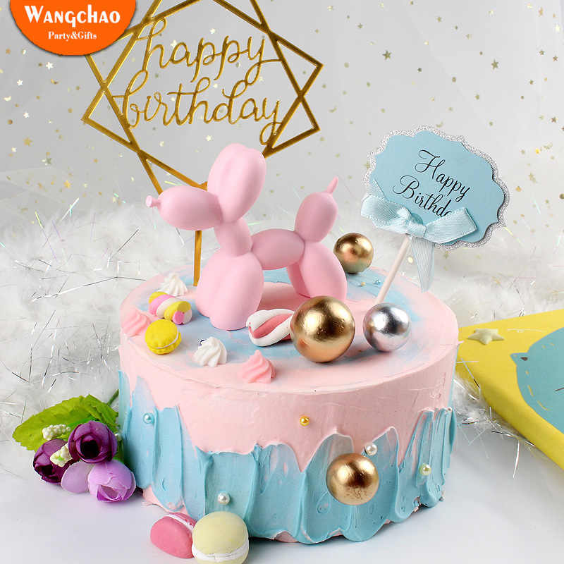 Kawaii Balloon Dog Cake Toppers Resin Cartoon Animal Wedding Happy Birthday Topper Sweet 16 Party