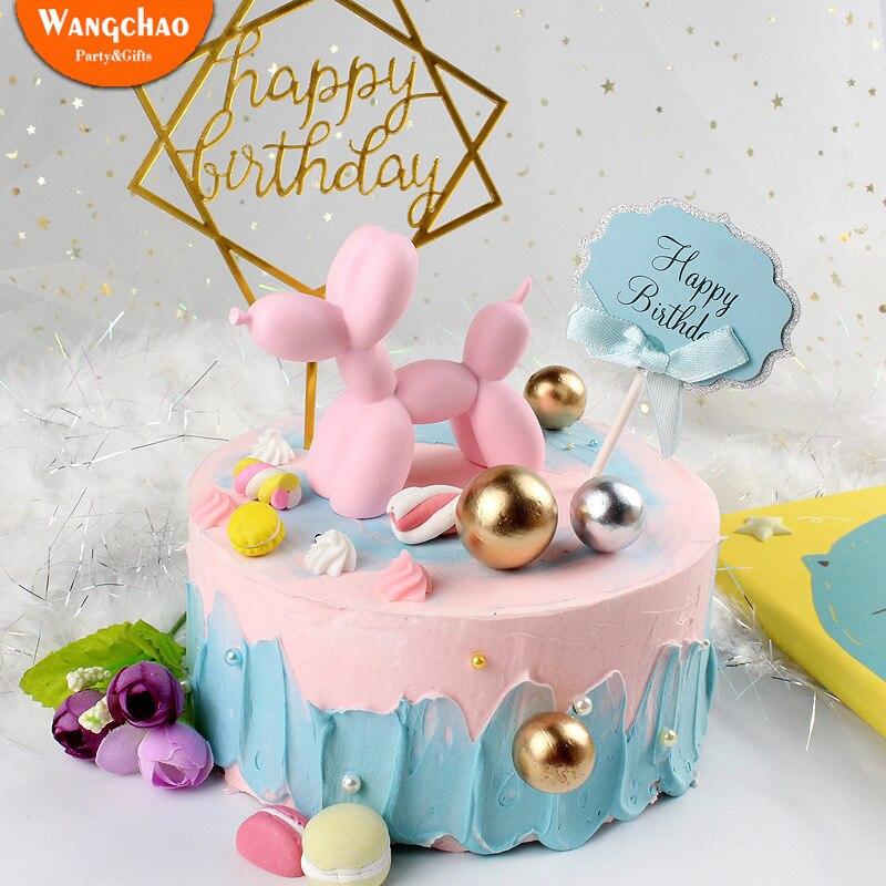 Kawaii Balloon Dog Cake Toppers Resin Cartoon Animal Wedding Happy Birthday Cake Topper Sweet 16 Party Decoration Party Supplies dřevěné dekorace do dětského pokoje