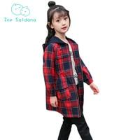 Zoe Saldana 2018 Spring Fashion Hooded Plaid Girls Jacket Full Sleeve Girls Coats Kids Clothes Children Clothing
