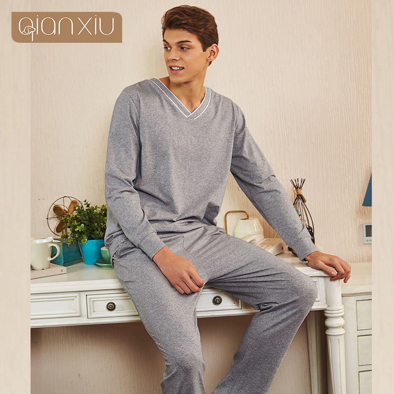 2019 New Style Spring Men's sets casual cotton breathable sweat absorption pajamas night home clothing hot selling 1904