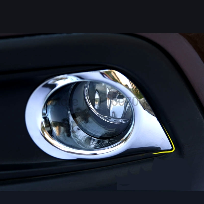 For Peugeot 2008 2014 2pcs ABS Chrome Car Front Foglight Lamp Cover Trim Shade Protectors Decoration Accessories