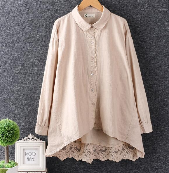Back lace patchwork Turn-down collar long sleeve  shirt blouse 2017 spring