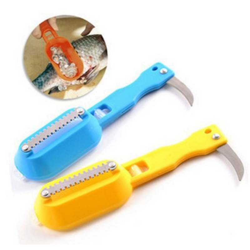 1Pcs kitchen tool cleaning fish skin steel fish scales brush shaver Remover Cleaner Descaler Skinner Scaler fishing tools knife