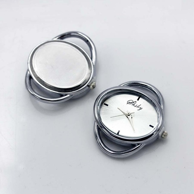 Shsby cá tính Tự Làm hình bầu dục Vàng bạc Xem tiêu đề vòng tròn dây bảng lõi watchband phụ kiện Đồng Hồ bán buôn