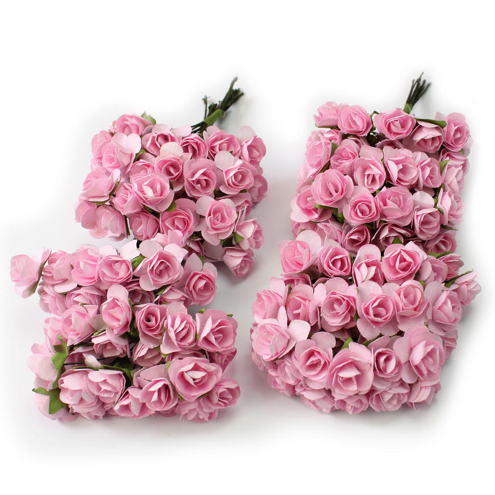 Fake flowers for crafts - New Pretty 144 X Light Pink Mini Artificial Paper Rose Flower Wedding Card Craft China