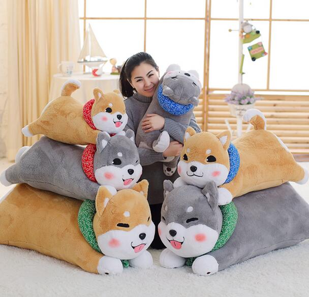 110cm Dog plush toy doll lying dog pillow cushion long pillow high quality 75cm super cute plush toy dog lipstick dog pillow doll lying prone as gifts to friends and children with down cotton
