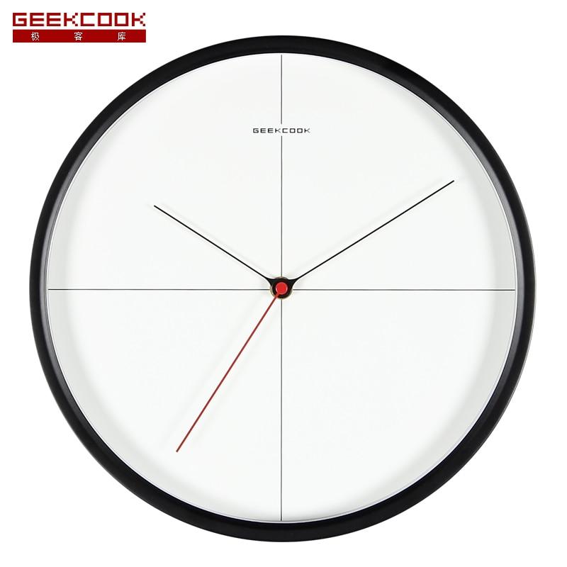 Высококачественные 12 дюймовые черно белые стеклянные часы, поверхность в простом стиле, современные металлические настенные часы, часы, креативный дизайн, точные круглые часы|Настенные часы|   | АлиЭкспресс - Крутые настенные часы