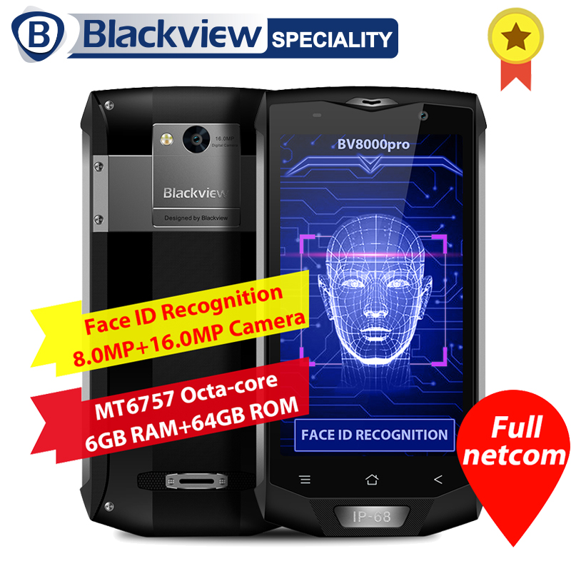 Blackview BV8000 Pro Smartphone IP68 Wasserdichte MT6757 Octa Core 6g RAM 64g ROM 5,0 zoll 1920*1080 16.0MP 4g Android 7.0 Telefon