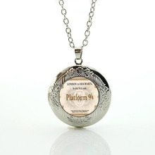 LONDON TO HOGWARTS Express train ticket Platm 9 34 Glass Pendant necklace harry hot book Quote locket necklace men jewelry N547(China)
