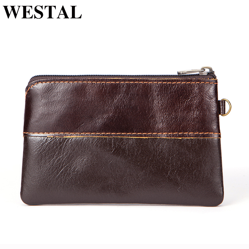 WESTAL Coin Purse Men Genuine Leather Wallets Women Wallet Men Wallet Slim Zipper Short Wallets Male Purse Card Holder Pouch