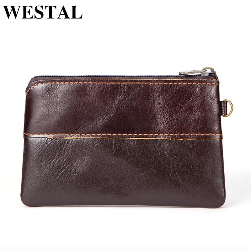 WESTAL Genuine Leather Wallets Women Coin Purse Men Wallet Slim Zipper Wallet for Credit Card Holder Male Purse Small Wallets fsinnlv genuine leather wallet for women zipper