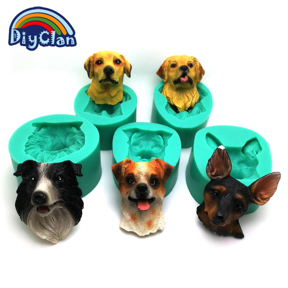 Puppy dog Breed face silicone cake decoration mold animal cupcake making modeling chocolate resin sugarcraft polymer clay mould