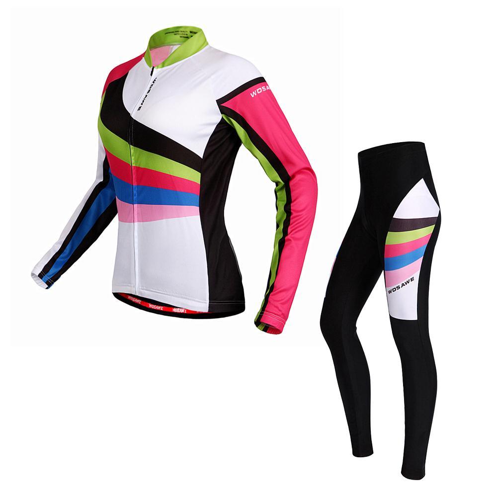 NOUVEAU WOSAWE Pro Mince À Manches Longues Vélo Jersey Vélo Vêtements Femmes de Sport Vtt Vélo Vélo 3D Gel Rembourré Vélo