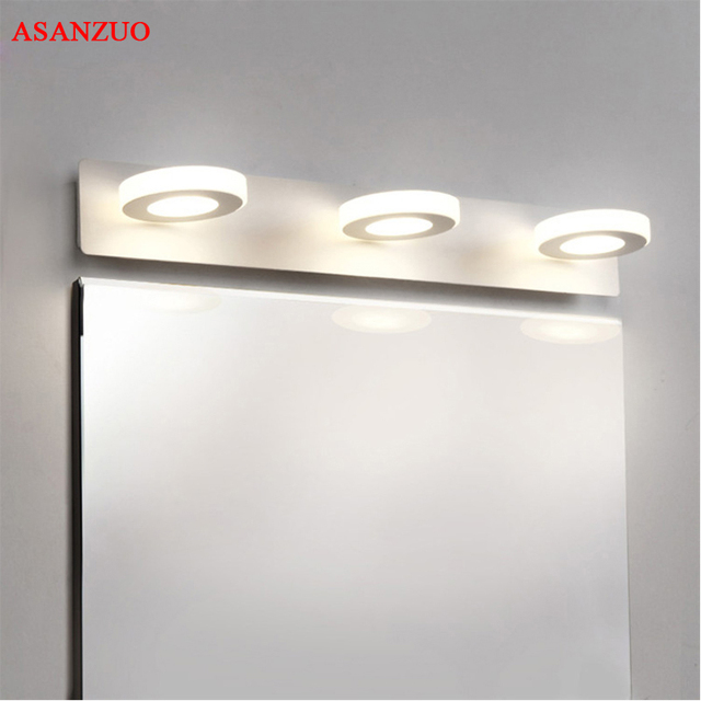110-240V LED Mirror Light Modern Bathroom Circle acrylic wall lamp 2heads 3heads 4heads Stainless Steel indoor Lighting fixtures