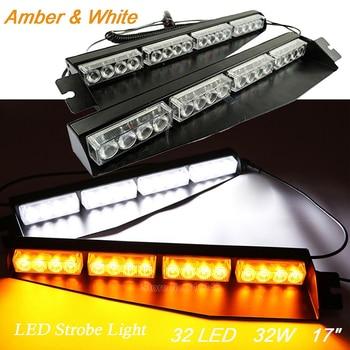 32LED Car Visor Strobe Lights Front Windshield Police Warning Strobe light Traffic Emergency Vechicle Flash Beacon Amber White