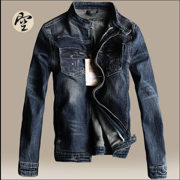 2016 new hot spring autumn Men Jeans Jacket Overcoat Parkas coat Motorcycle Retro Slim short plus size 2XXL cotton dark blue