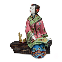 Antique Chinese Lady Ceramic Statue Chazi Pure Manual Figure Craft Collectible Porcelain Figurine Christmas Vintage Home Decor