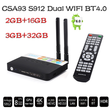CSA93 3 GB RAM 32 GB ROM Android 6.0 TV Box 2 GB 16 GB Amlogic S912 Octa Core Streaming Smart Media Player Wifi BT4.0 4 K TV box TV