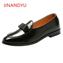 Size 37-48 Mens Dress Shoes Loafers With Bow Tie Men Wedding Shoe Brand Luxury Pointed Toe Leather Party Formal Shoes for Men