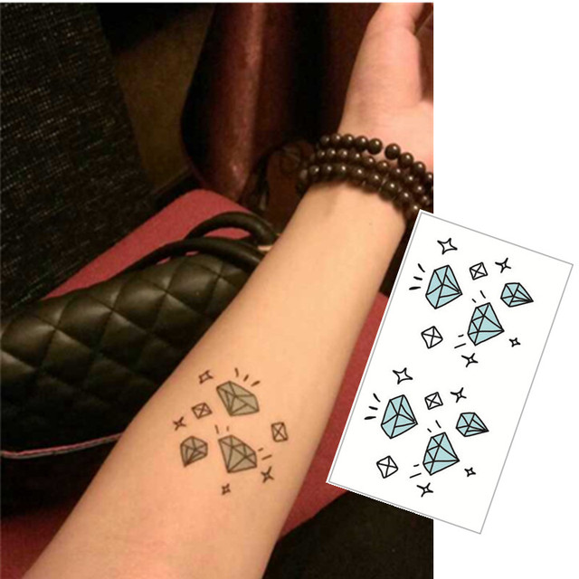 shnapign kleinen blauen diamant flash tattoo hand aufkleber 10,5*6