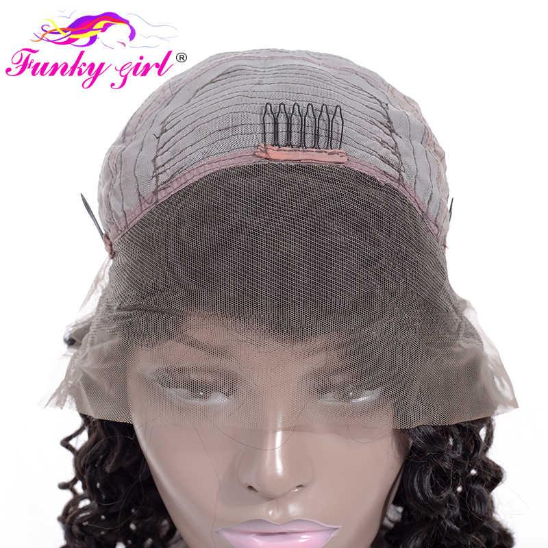 Funky Girl бразильская холодная завивка кружева фронта человеческих волос парики 150% передние парики на кружеве с детскими волосами предварительно сорванные натуральные волосы Remy